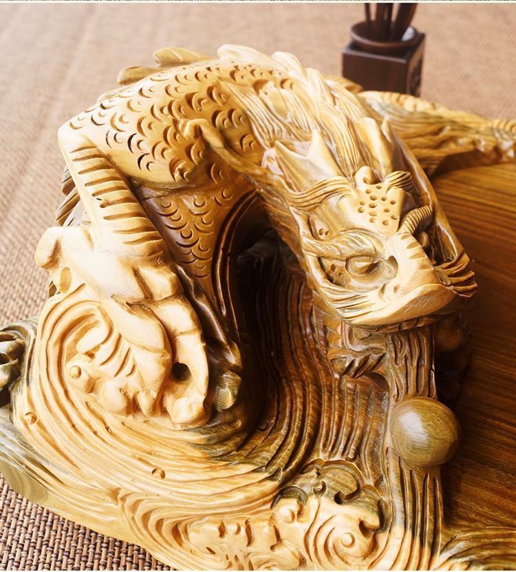 Green, sandal wood tea tray, the whole piece of solid wood home tea trumpet tea sea dragon carved its tea tray