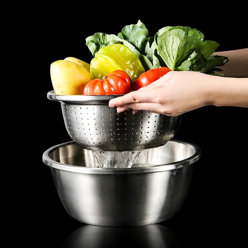 不锈钢盆家用厨房沥水盆打蛋盆加厚盆子汤盆和面盆漏盆套装洗菜盆