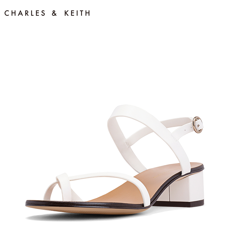 1b28ffb496 CHARLES/KEITH summer sandals women's simple cross with toe low heel women's  shoes CK1-61720003