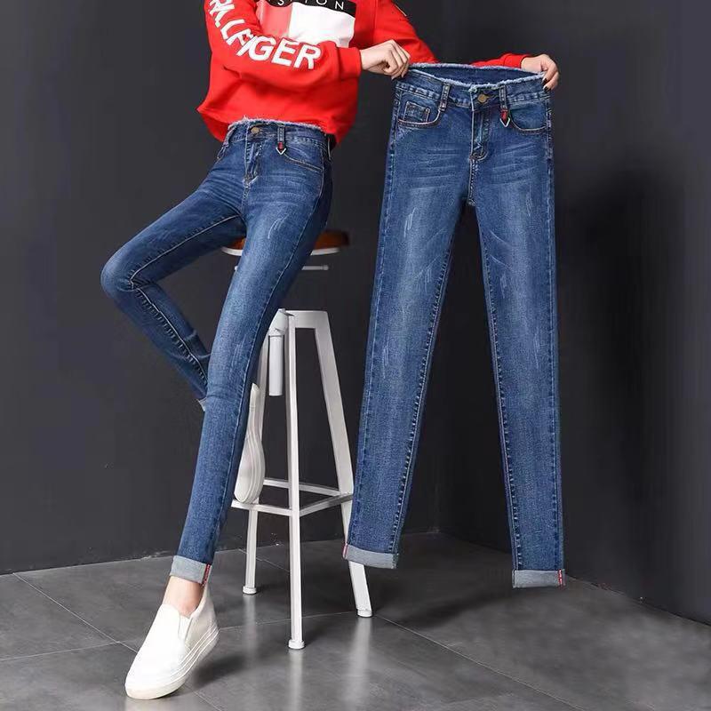 秋冬加绒弹力牛仔长裤新款韩版高弹牛仔裤女装小脚紧身铅笔长裤子
