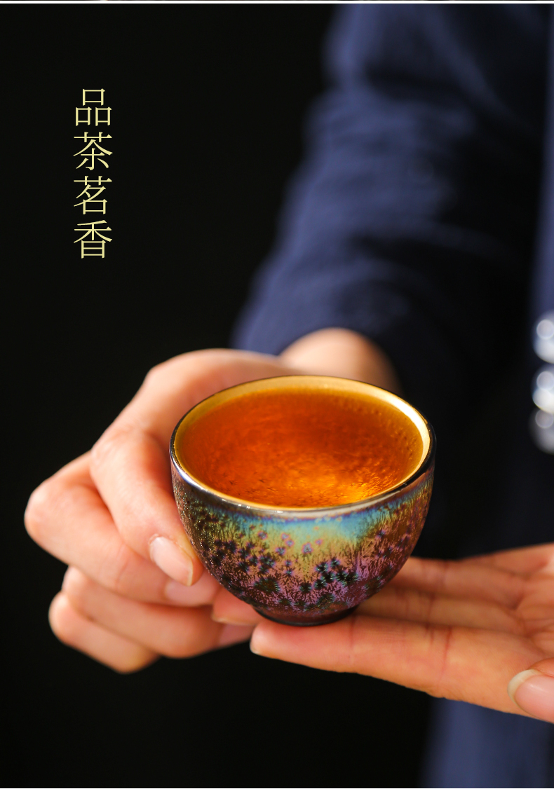 High - end kung fu tea set 7 see colour built lamp light much fine gold teapot teacup mix of a complete set of ceramic creative gift