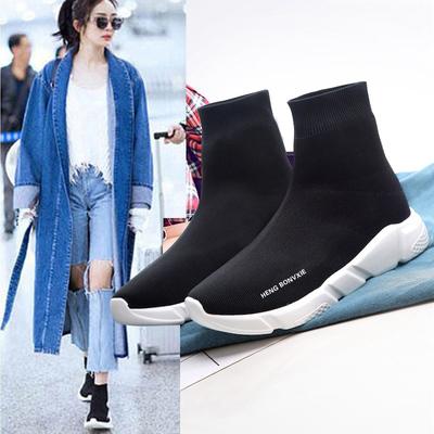 冬季弹力袜子鞋女百搭加绒袜子靴