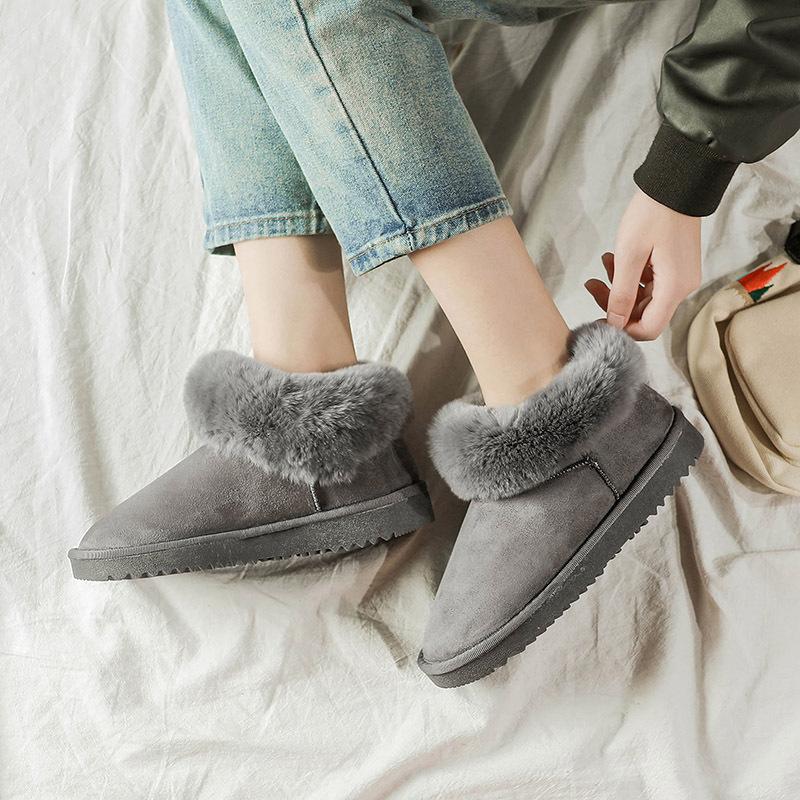 短靴女雪地灰色靴2018新款女鞋马丁靴毛毛秋冬翻毛
