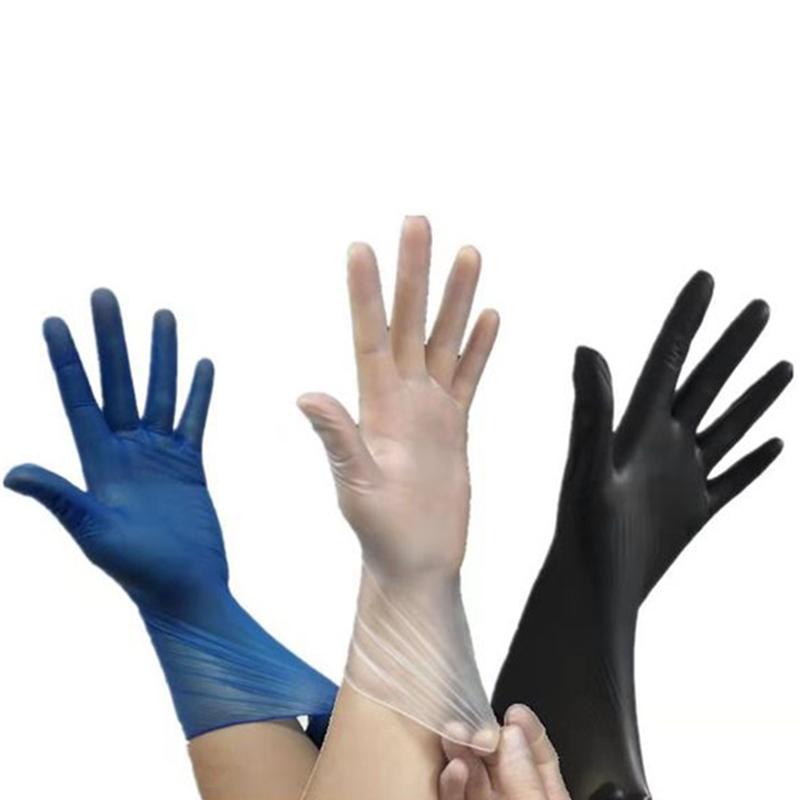 一次性手套超薄紧手美容院用防水食品耐磨塑料透明pvc手套100只装