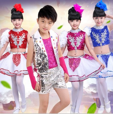 Jazz Dance Costume Children Jazz Costume for Christmas performance dress
