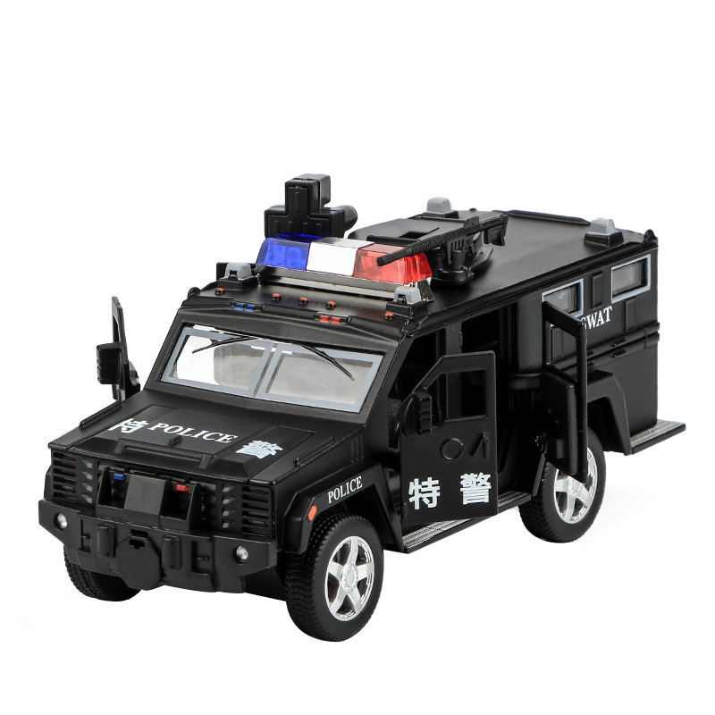 Children S Police Car Toy Car Simulation Alloy Pull Back Sound And