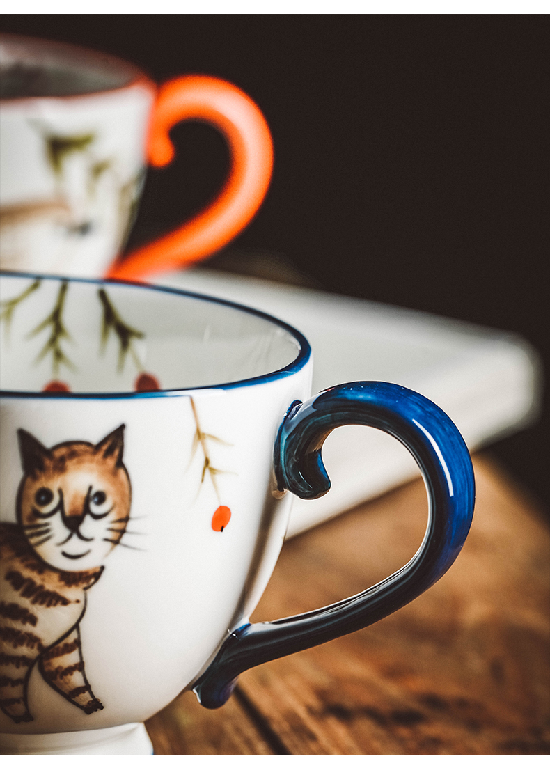 Retro hand - made ceramic keller of coffee cup of afternoon tea cup home flowers teacups hand - made forest animals cup