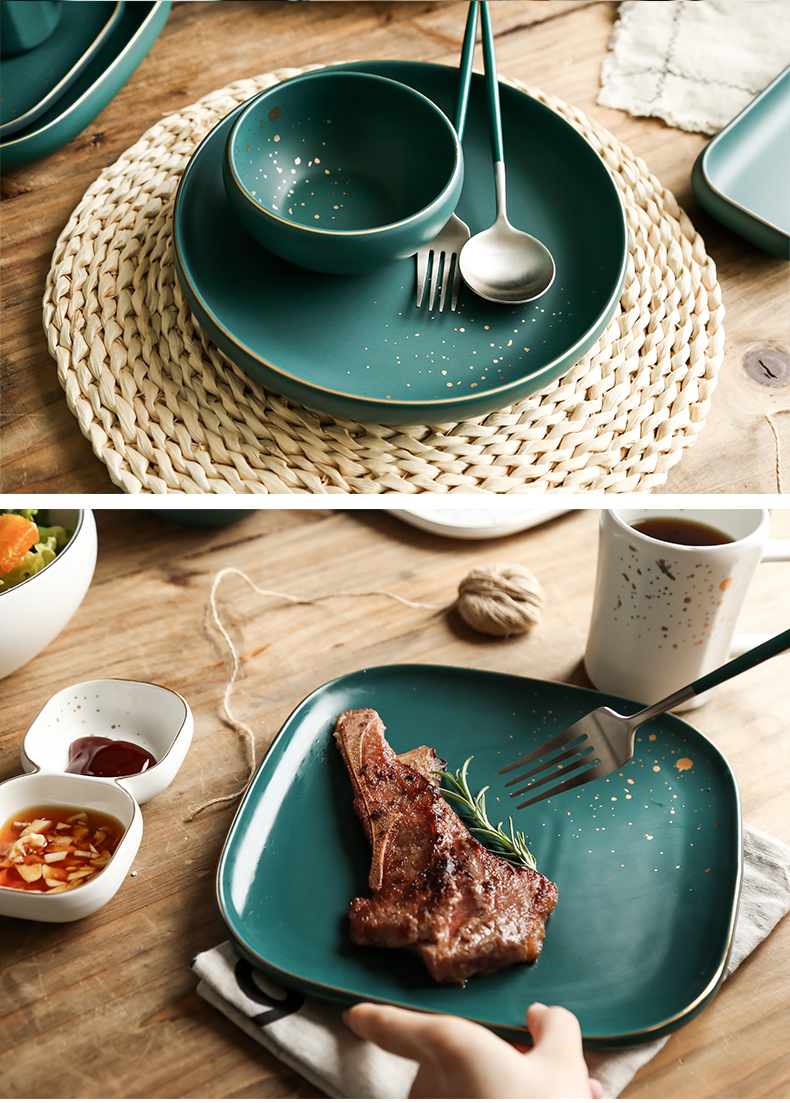 European green ceramic tableware plate disc beefsteak up phnom penh dish household jobs salad dish plate