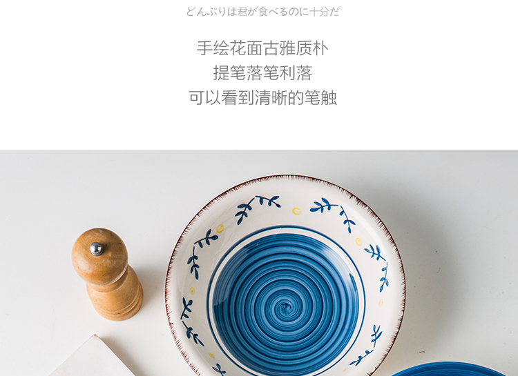 Household food dish and glaze color restoring ancient ways hand - made ceramic tableware suit rural wind western dishes deep bowl rainbow such use
