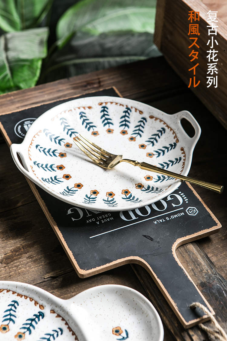 Northern wind blue hand - made flowers lines restoring ancient ways of household ceramic dish soup bowl dish dessert plate dishes dishes
