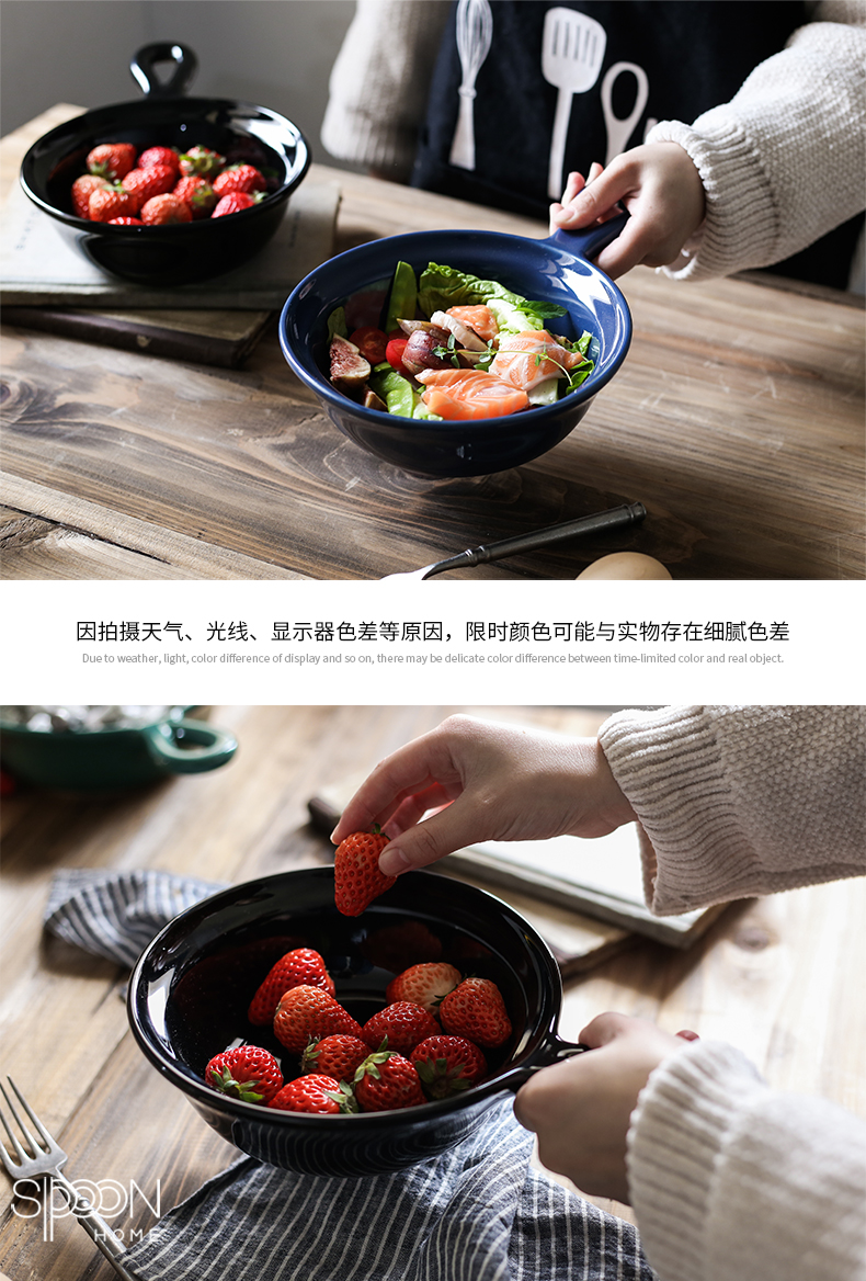 Jingdezhen ceramic creative with handle for job home fruit salad bowl with a pull roasted bowl rainbow such use large soup bowl
