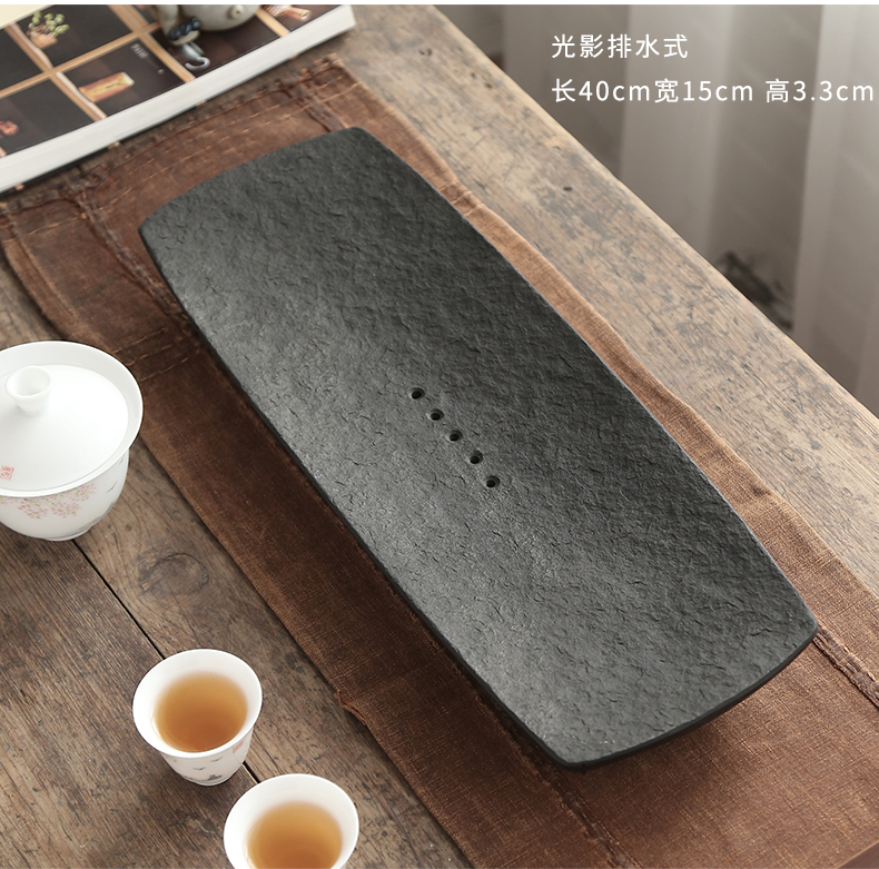 Sharply by mud stone tea tray was Japanese household whole piece of natural stone tea table contracted small stone dry tea tray