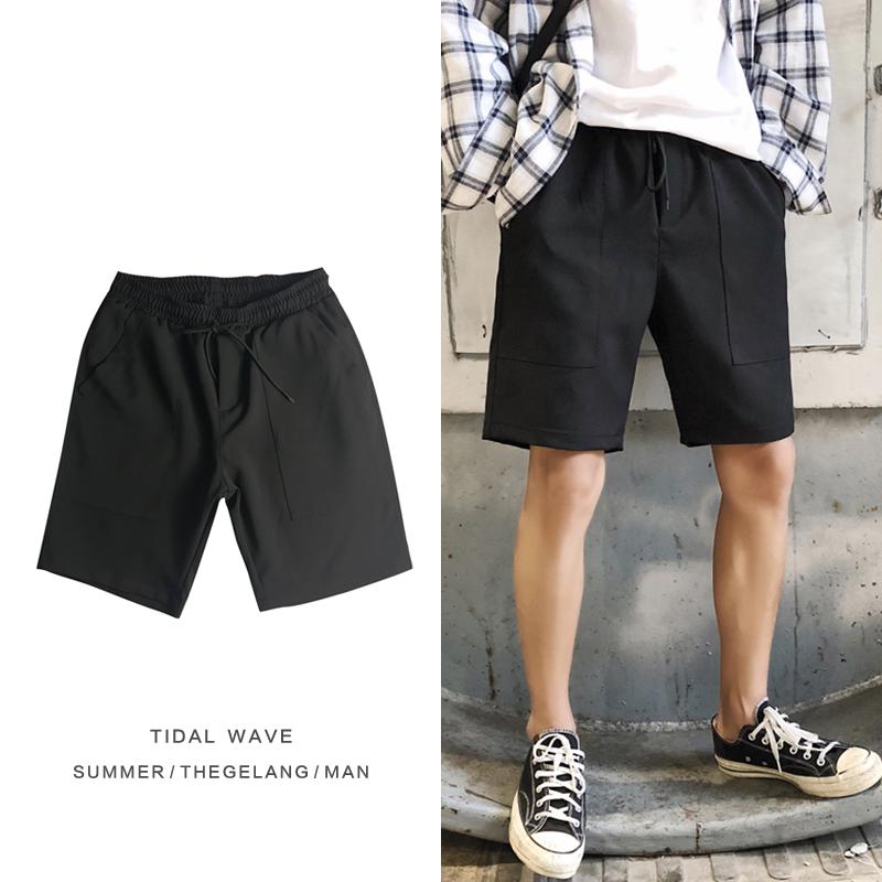 爆款短裤夏季韩版青少年百搭大口袋设计休闲运动中裤子免烫五分裤