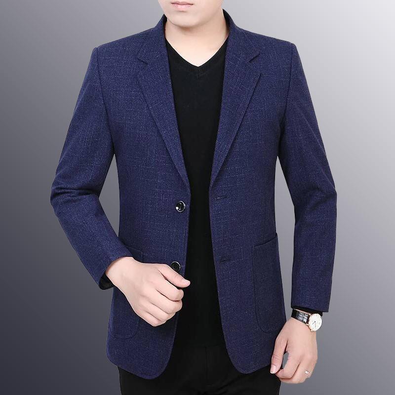 2019春秋新款中年男士西装v男士单件商务西服薄款韩版帅气外套上衣