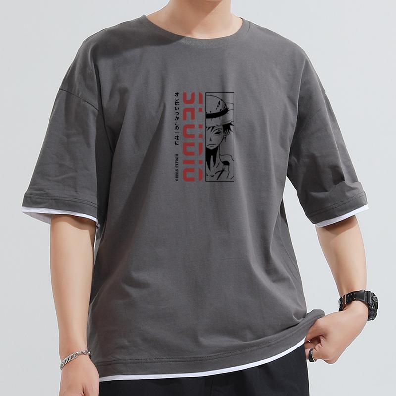 海贼王T恤男假两件五分袖短袖动漫潮流夏纯棉宽松ins体恤路飞半袖