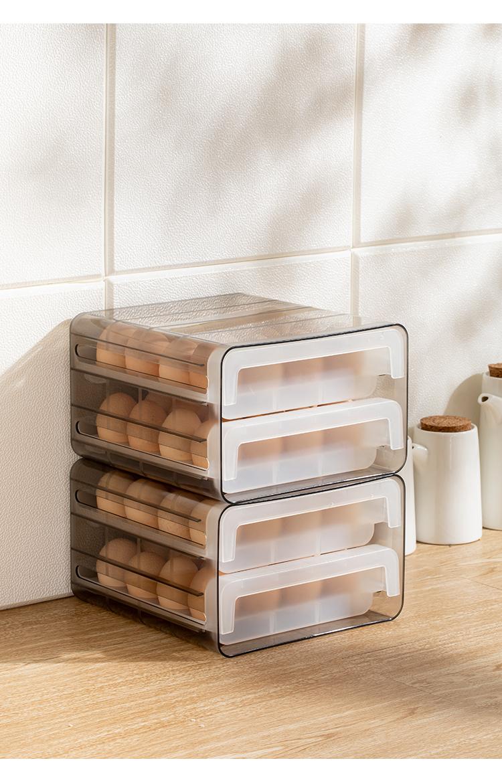 日本鸡蛋盒抽屉式保鲜收纳盒冰箱用放鸡蛋的盒子防摔厨房蛋盒架託详细照片