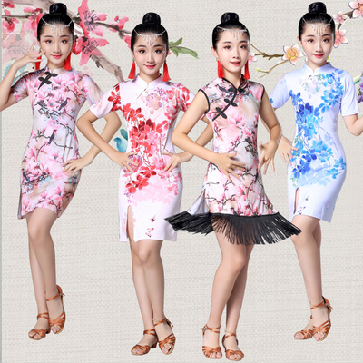 Children's Latin dance, Qipao clothing, children's girls, Qipao princess dress, Chinese style dance competition costume.