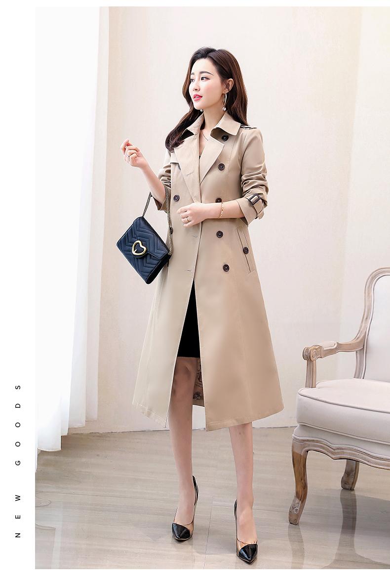 女士风衣2019春秋装新款韩版卡其色流行长款过膝收腰外套  注:实物颜色更深