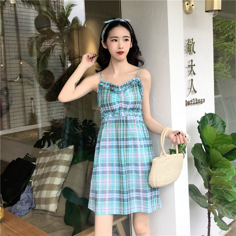 Sweet waistcoat with thin slings and lattice dress 2018 summer