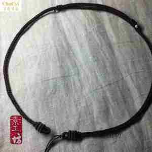 3毫米粗纯手工编织天珠挂绳短颈绳翡翠路路通调节款挂绳