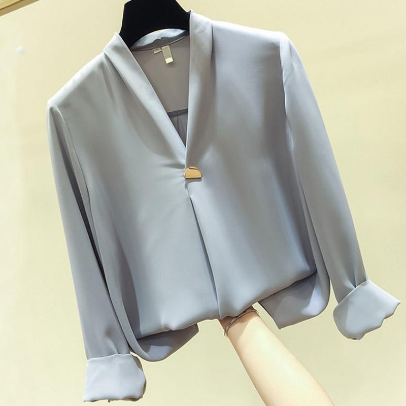 2020春新款白色衬衫气质显瘦V领上衣宽松长袖雪纺衫女超仙纯色10