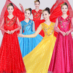 Chinese folk dance dress for women national dance performance costume chorus stage costume opening dance big swing skirt performance dress women long skirt