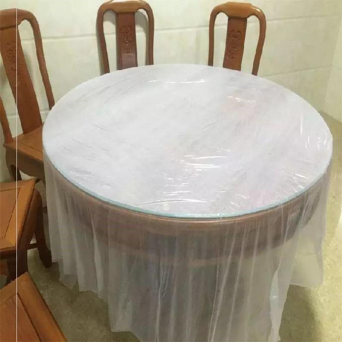 Bàn tiệc khăn trải bàn tròn trong suốt khách sạn màu đỏ dày máy tính để bàn sinh nhật khăn trải bàn tròn dùng một lần đám cưới - Các món ăn dùng một lần