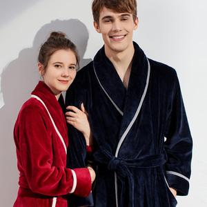 睡袍女冬季珊瑚绒睡衣情侣大红色加厚长款情侣法兰绒浴袍男冬款