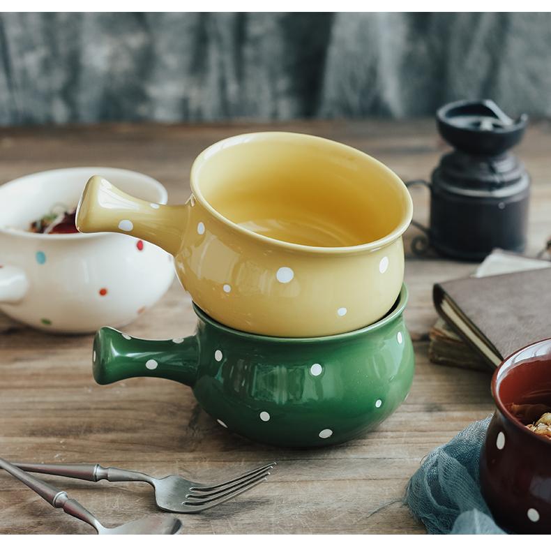 波点创意陶瓷带手柄泡面碗 家用汤碗水果沙拉碗饭碗日式餐具面碗