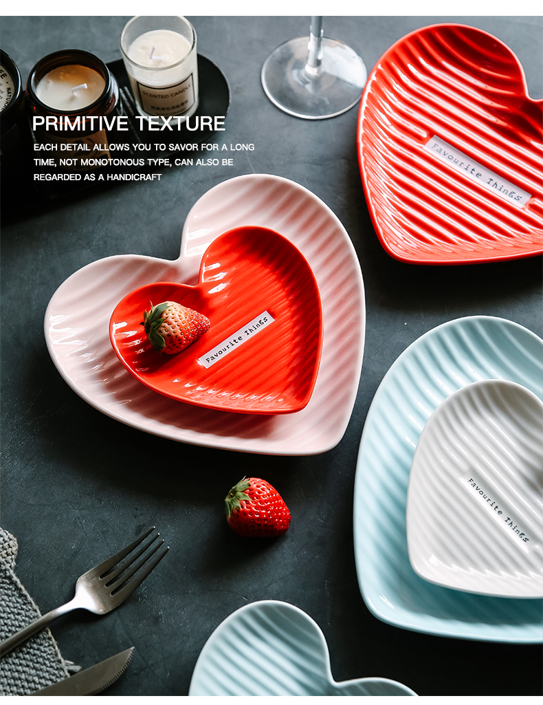Ins web celebrity creative ceramic plate is irregular household dish vegetable salad breakfast tray was love cake pan