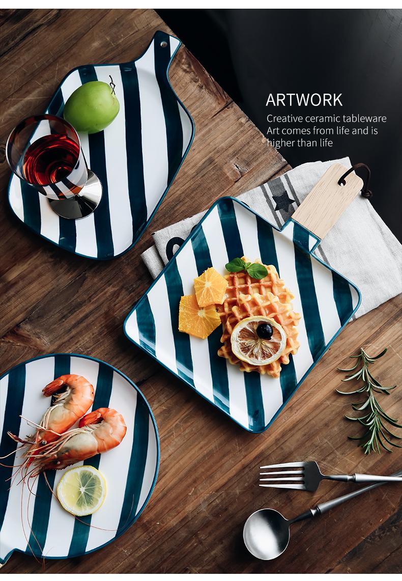 创意北欧釉下彩餐具相思木把手陶瓷盘牛排西餐盘意面盘碟北欧餐具