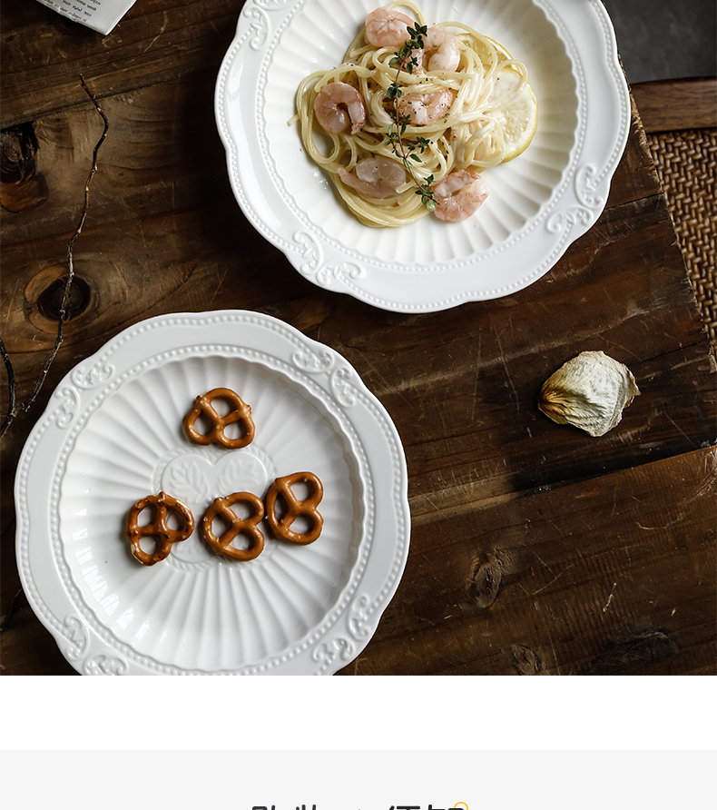 American relief white porcelain disc creative vertical stripes carved ceramic western - style food restaurant home new dessert plate