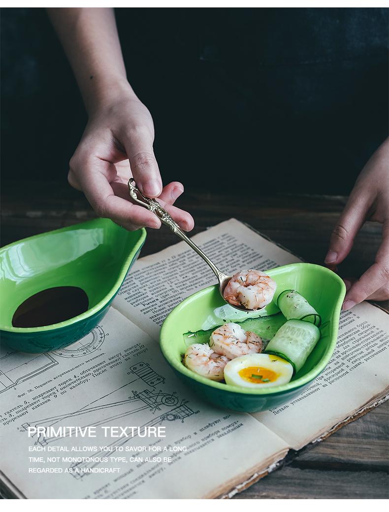 The Nordic idea but avocado ceramic bowl of fruit salad bowl snack plate children eat dessert bowl bowl web celebrity tableware
