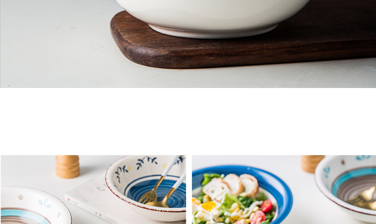 Japanese deep bowl rainbow such as use of household food plate under the glaze color hand - made ceramic tableware suit rural wind western dishes