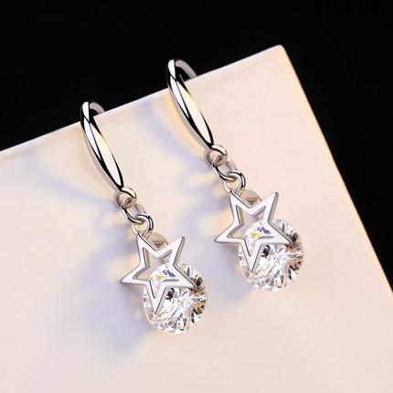 洛莎s925银耳环女贝珍珠饰品日韩简约时尚学生耳钉送女友生日礼物