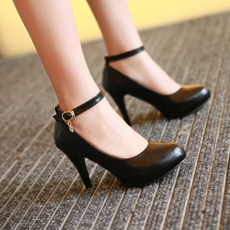 工作鞋 女 黑 高跟_底料;防滑耐磨橡胶底