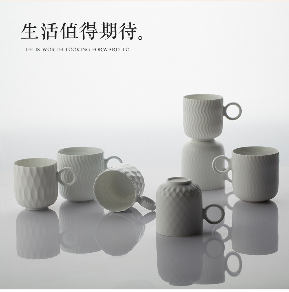 Jingdezhen flagship store of ceramic coffee cups and saucers suit small European - style key-2 luxury household contracted afternoon tea keller