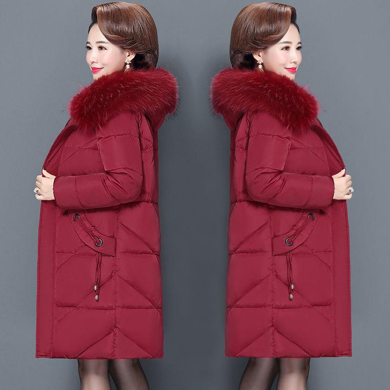 07中老年棉衣女中长款妈妈装羽绒棉服200斤加大码中年棉袄外套潮