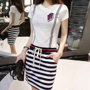 背带连衣裙短袖条纹显瘦包臀裙
