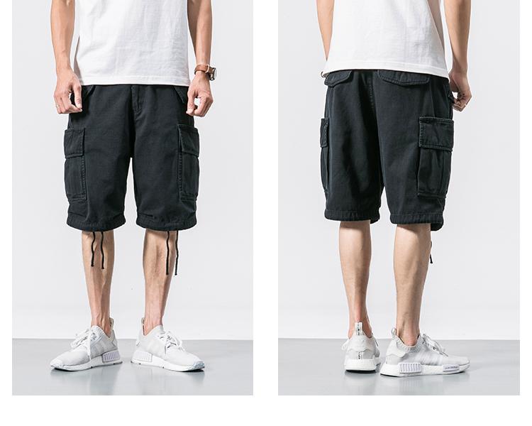 Đa túi thủy triều thương hiệu đen dụng cụ quần short yu wenle nam năm điểm quần âu 5 điểm quần mùa hè quần lỏng thủy triều