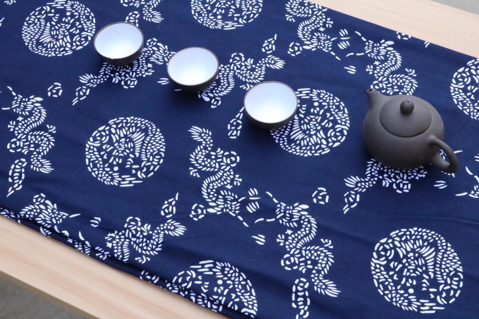 幼儿园红蓝印花布料棉布碎花装饰手工餐厅中国民族风青花瓷桌布