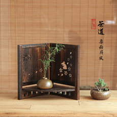 Small screen decoration desktop storage rack solid wood countertop small flower stand display stand tea ceremony decoration