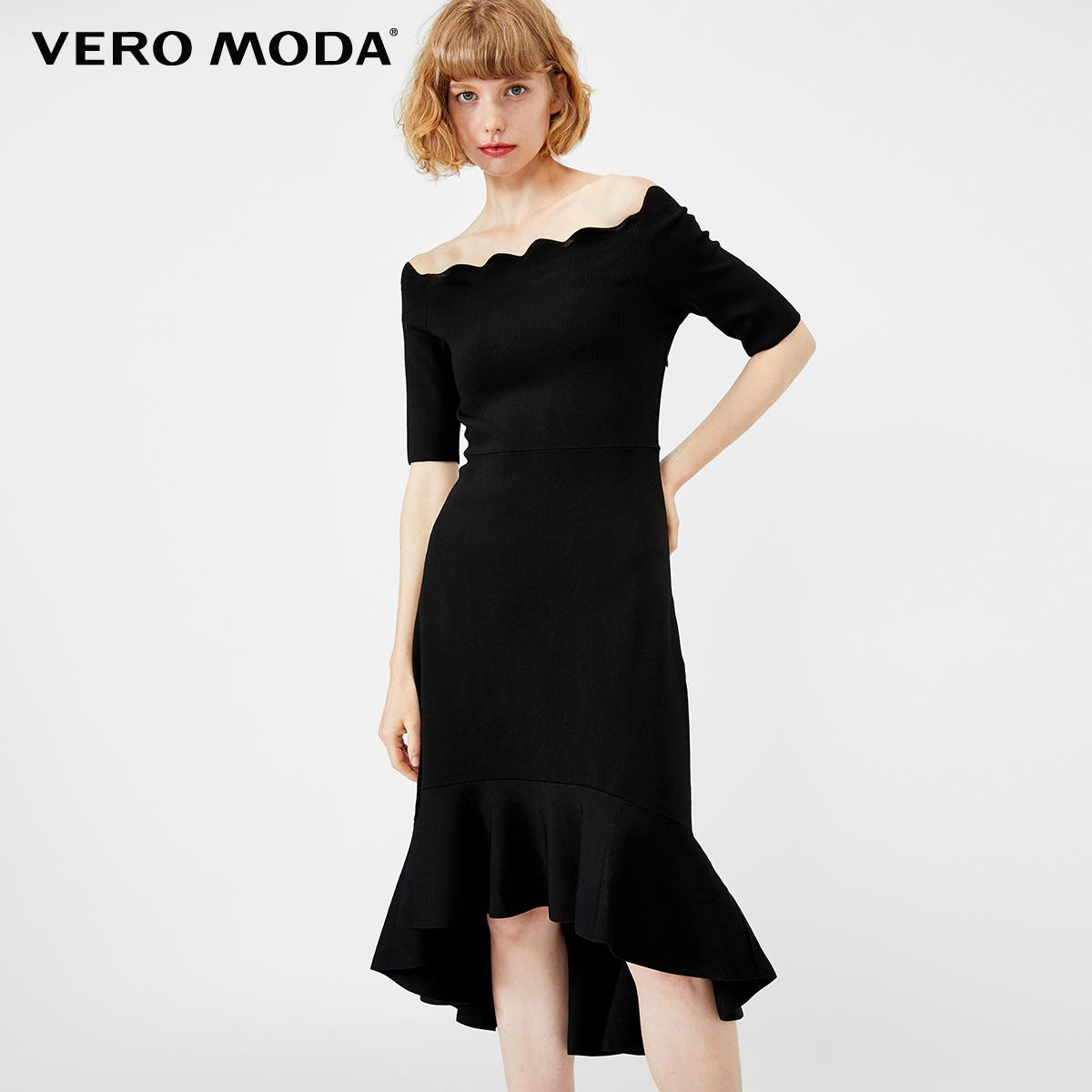 VeroModa2019荷叶新款短袖边露肩秋冬高腰针织连衣裙|319446510
