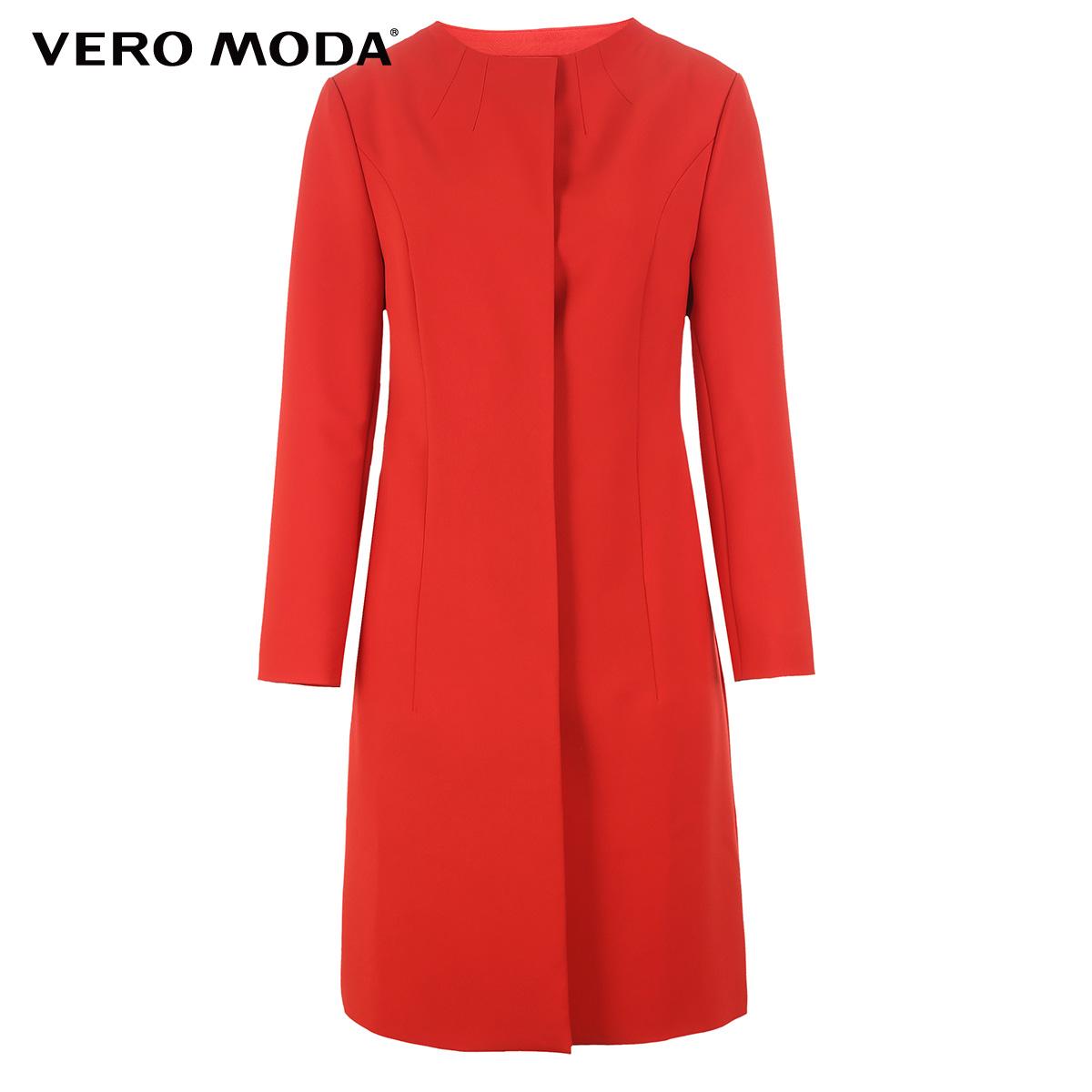 Vero Moda2017新款简约圆领中长款风衣外套女|317121520