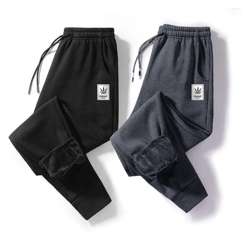 裤子男士卫裤秋冬款运动裤宽松羊羔加绒加厚针织棉裤冬季休闲长裤