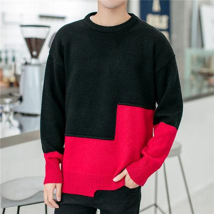 高领毛衣男袖子补丁针织衫男士冬季韩版港风学生长袖学院风秋冬潮