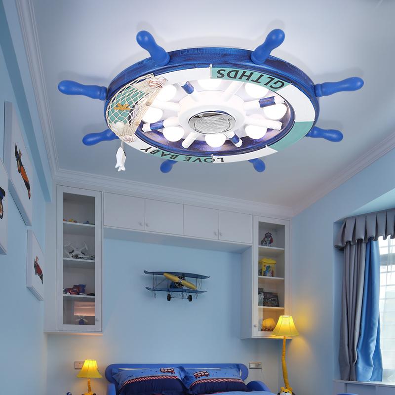 儿童房灯男孩女孩卧室灯简约现代北欧创意卡通地中海船舵灯天猫精灵智能音乐吸顶灯