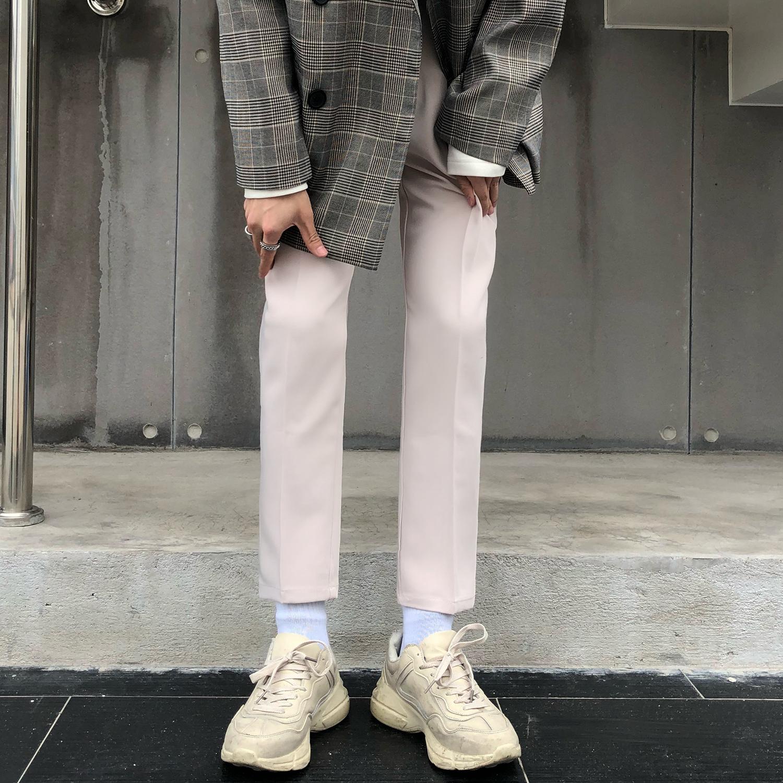 mùa hè quần lửng ống rộng quần dài nam nhỏ thẳng lỏng kiểu Hàn Quốc quần lửng nhỏ nam chín điểm quần Hàn Quốc - Quần