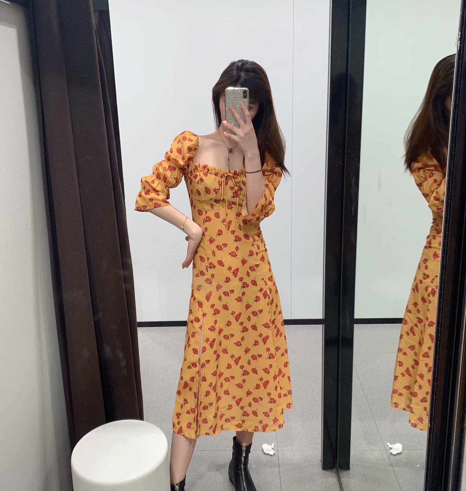 WMXZ 2019春夏季新品修身显瘦时尚黄色碎花侧开叉度假连衣裙子