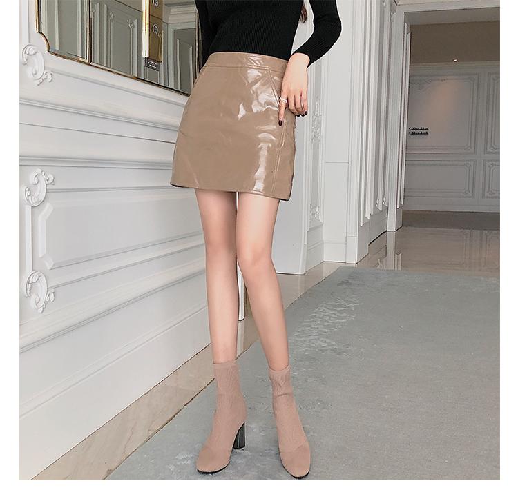 墨染·秋季高跟靴子2121針織短靴女ins網紅瘦瘦靴方頭中筒粗跟彈力靴